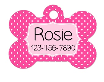 Personalized Dog Name Tag - Dog ID Tag - Custom Dog Collar Tag - Dog Tag Pink Polka Dots