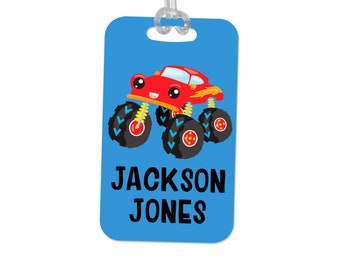 Boys Backpack Name Tag, Monster Truck School Bag Tag, Boy Back to School Gift