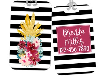 custom luggage tag, gold pineapple name tag for backpack, briefcase, floral wine pink stripe