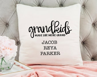 Personalized Pillow Cover - Grandkids Make Life Grand - Christmas Gift for Grandma - Throw Pillow Personalized with Grandchildrens Names