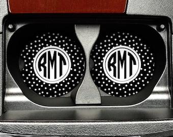 Monogram Car Cup Holder - Circle Monogram Sandstone Polka Dots Car Coasters