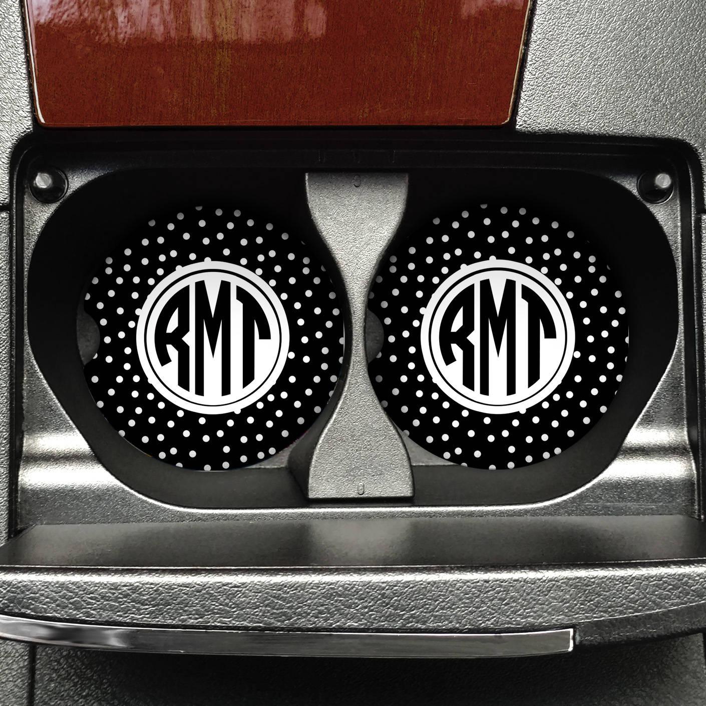 Monogram Car Cup Holder Circle Monogram Sandstone Polka