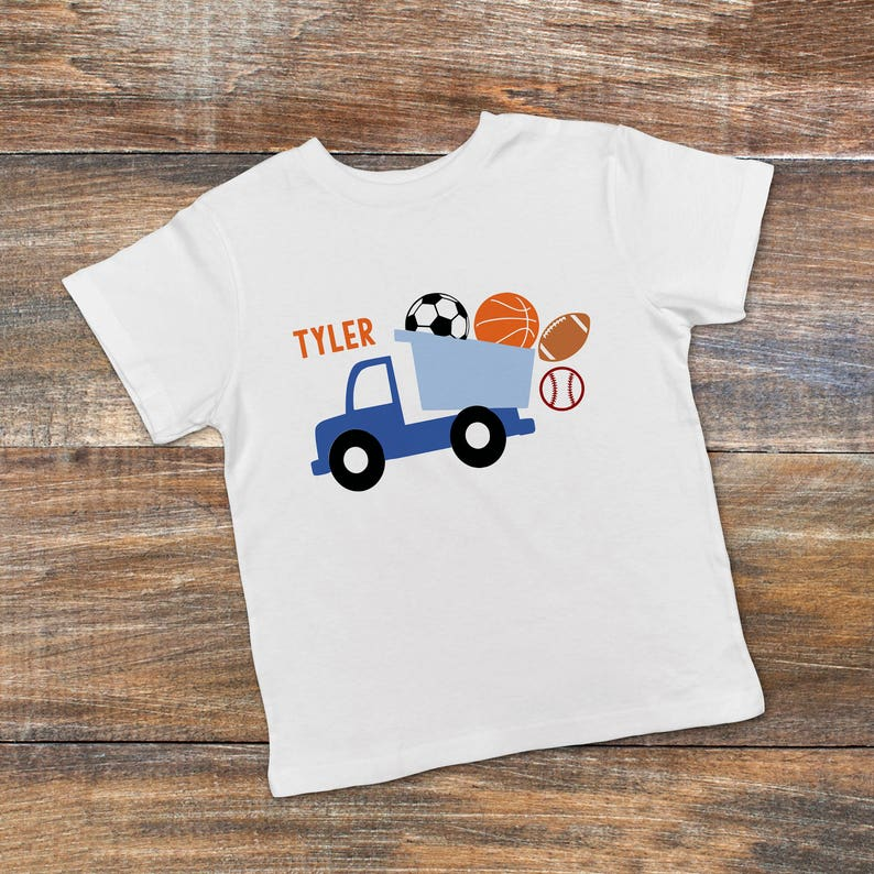 Personalized Toddler Boy Shirt  Blue Dump Truck Boys Tee  image 0