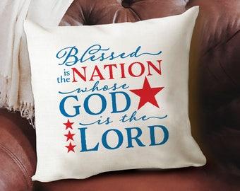 Christian Patriotic Throw Pillow - Americana Red White Blue Pillow Cover - Christian Home Decor