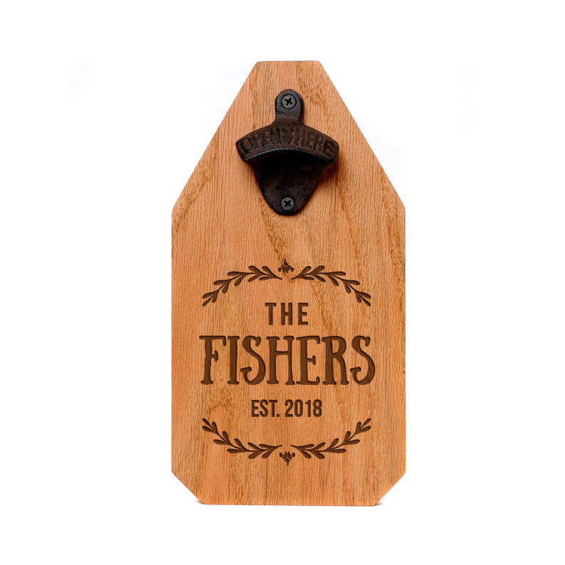 Wedding Gift  Personalized Beer Bottle Opener Wood Sign  image 0