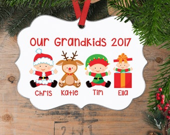 Personalized Grandkids Christmas Ornament - Custom Christmas Ornament for Grandparents