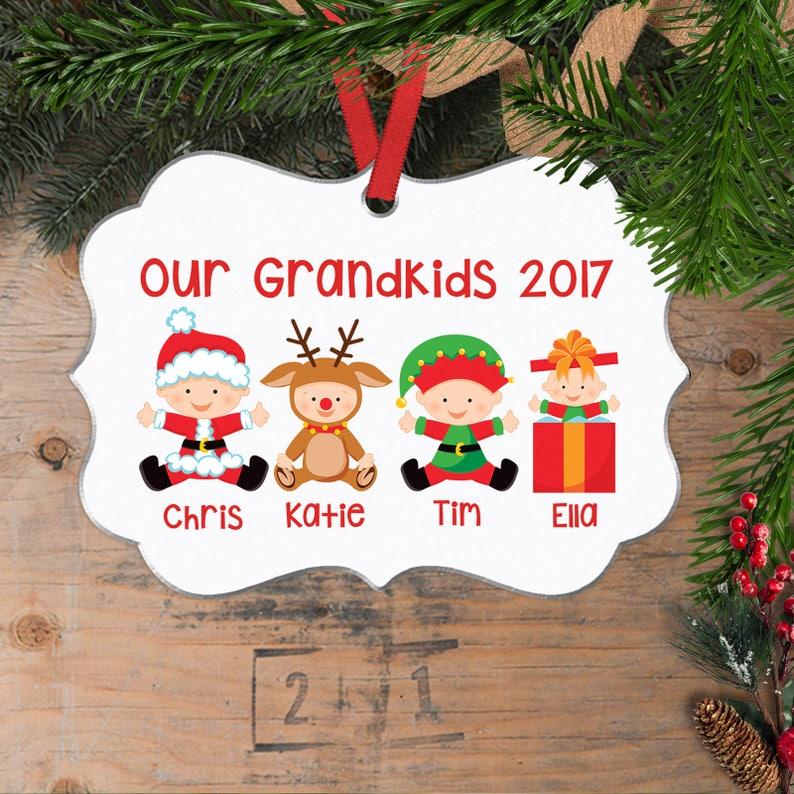 Personalized Grandkids Christmas Ornament  Custom Christmas image 0