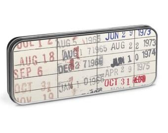 Vintage Library Checkout Card Pencil Tin - Reader Gift