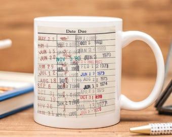 Library Card Coffee Mug - Book Club Gift - Coffee Tea Cup Christmas Gifts for Readers