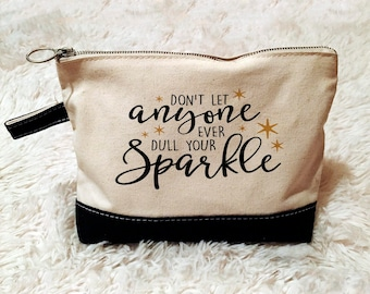 Inspirational Cosmetic Bag - Zipper Pouch - Pencil Case - Gold Sparkle