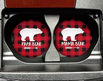 Mama Bear Papa Bear Car Coasters - Matching Set of Car Coasters Buffalo Plaid