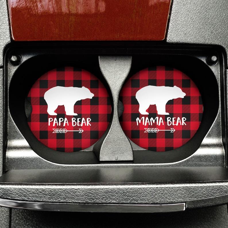 Mama Bear Papa Bear Car Coasters  Matching Set of Car image 0