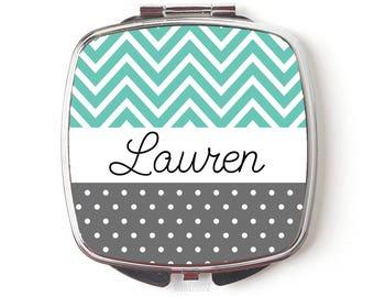 bridesmaids gift mint gray wedding - Custom Bridesmaid Gifts Personalized Pocket Compact Mirror