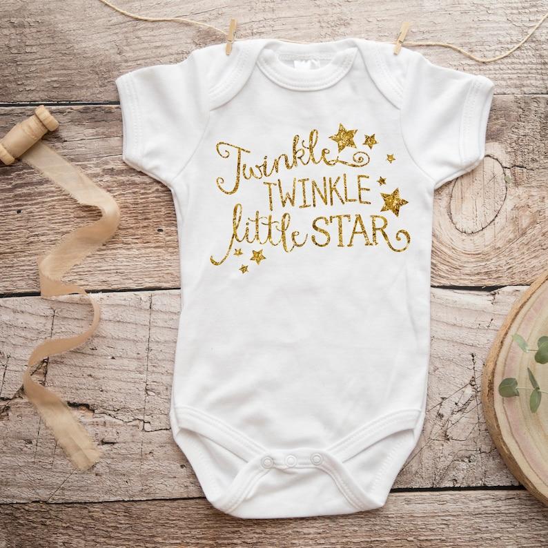 Gold Baby Bodysuit  Newborn Baby Gift  Twinkle Twinkle image 0