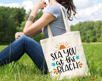Beach Tote - Canvas Beach Bag - Beach Bag Canvas - Sea You at the Beach