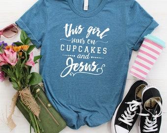 Christian T shirt - This Girl Runs on Cupcakes & Jesus Gray Tee for Her - Christian Shirt - Christian Apparel - Jesus Tee