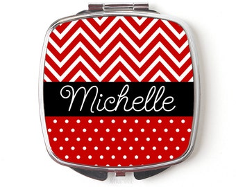Personalized Bridesmaids Gifts, Personalized Compact Mirror, Red Black Chevron Polka Dot Personalized Purse Mirror, Custom Bridesmaid Gifts