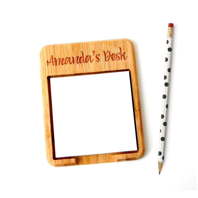 Personalized Bamboo Sticky Note Holder  Custom coworker Gift image 0