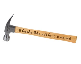 Gift for Grandpa - Personalized Laser Engraved Hammer Custom Christmas Gift ideas for Dad, Grandfather or Husband for Father's Day