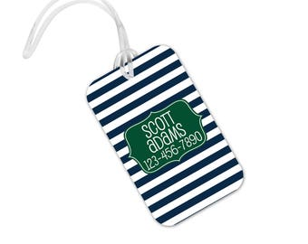 Custom Bag Tag - Backpack Name Tag - Personalized Back to School Green Navy