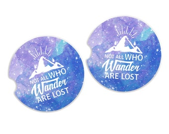 car coasters set of 2 - Not All Who Wander Are Lost Inspirational Quote sandstone car coaster set