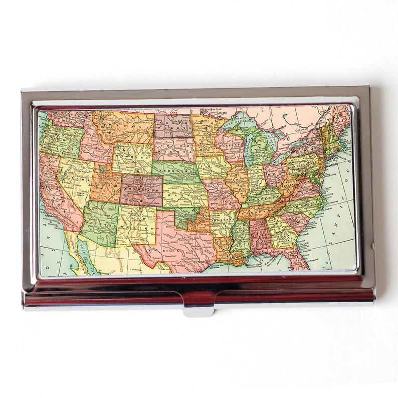 US Carte De Visite Cas Etats Unis Mur Atlas Titulaire