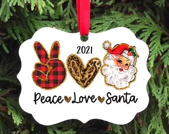 Christmas Ornament - Peace Love Santa Christmas Tree Ornament - Gift Ideas, stocking stuffers, stocking filler