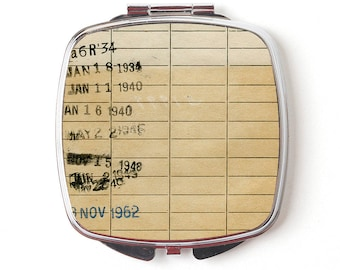 Vintage Library Card Compact Purse Mirror - Gift For Readers, Teachers, Librarians - Checkout Card Library Book Due Date Compact Mirror