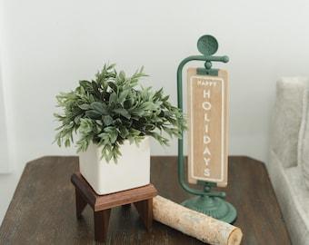 Geometric Plant Stand Oak Wood, Walnut Wood Display Stand
