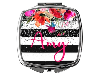 Personalized Compact Mirror - Custom Cosmetic Mirror for Purse or Pocket