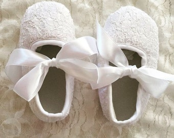 Baby Girl White Lace Christening Pre-walker Shoes Size 0-3-6-12-18 months