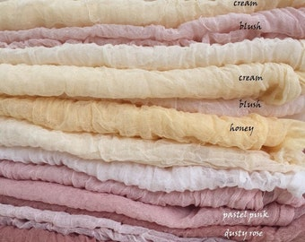 Hand dyed Gauze Sheer Crinkle Cotton Cheesecloth Muslin Baby Wrap Newborn Photo Prop Rustic table runner Wedding Florist Ribbon