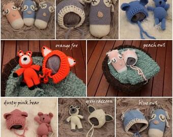 OOAK Prop Friend & Matching Bonnet Hat Set for Newborn Photography