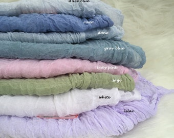 Hand dyed Gauze Sheer Crinkle Cotton Cheesecloth Muslin Baby Wrap Newborn Photo Prop table runner Wedding Florist Ribbon