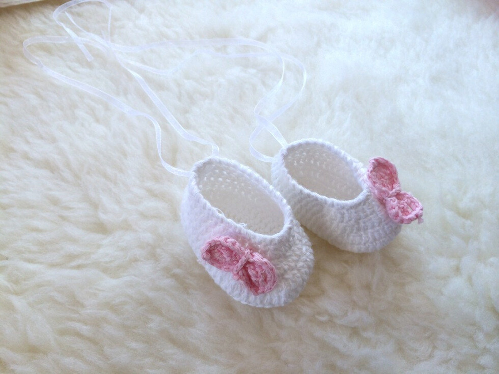 99cea9c2b78c2 Handmade Baby Girl Newborn Doll Crochet Knit Ballerina Ballet Shoes ...