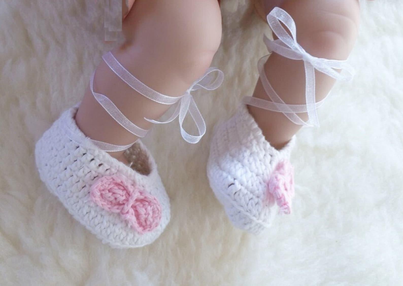handmade baby girl newborn doll crochet knit ballerina ballet shoes 0-6m sz 0 1 2