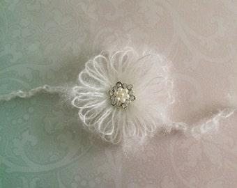 Newborn Baby Girl Mohair Flower Tiebacks Wedding Christening Headband - one size - White