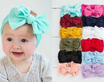 40008161b Big Bow Baby Headband, Nylon baby headbands, Baby turban, Newborn headband,  Over Sized Bow Headwrap, Baby Hair Bows, Baby Head wraps LOLA