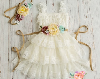 58d4ec24eee lace flower girl dress-rustic flower girl dress- lace girls dress- lace  baby dress- Burlap wedding dress- country flower girl- girls dress