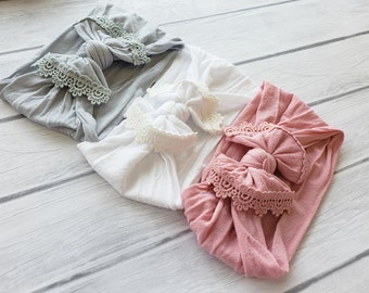 Baby headbands, Infant toddler baby girl headbands, Lace Trim Nylon Bow Headwrap,One size fits all nylon headbands, Top Knot baby head wraps