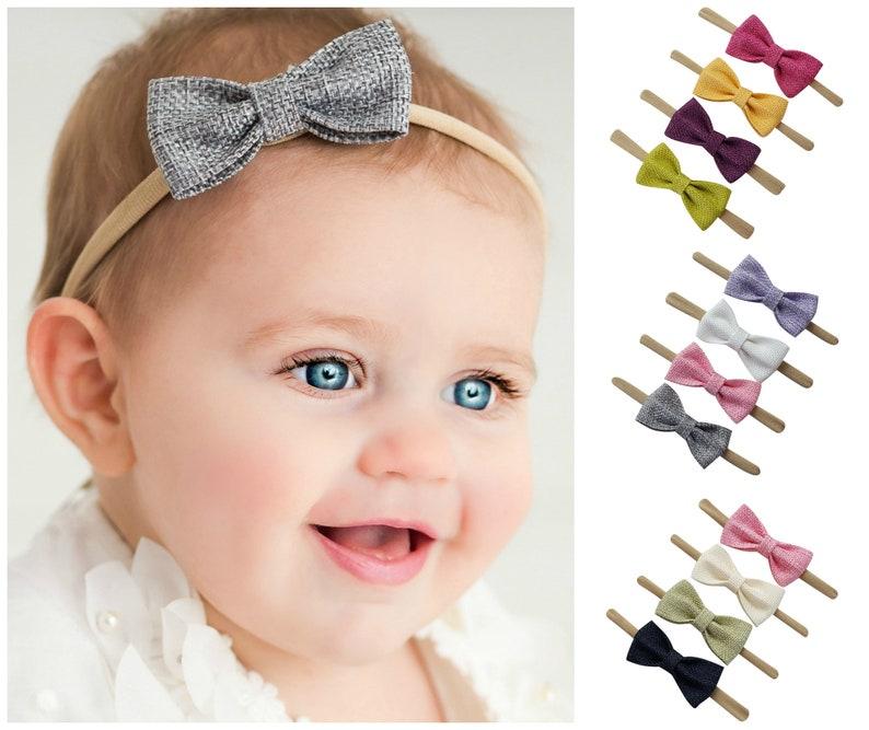 baby bow headbands SET baby headbands nylon headband image 0