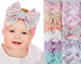 Baby headbands, nylon headbands, large flower headband, baby hair bows, headwrap, baby turban, wide nylon headband, newborn headband. LOLA