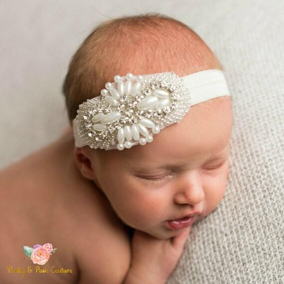 Baby Stirnband Taufe Stirnband Haarband Taufe Stirnband Blumenmädchen Stirnband Hochzeitsstirnband Baby Mädchen Stirnband Baby Bögen