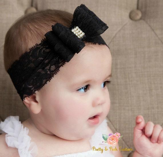 Black baby headband Newborn headband Christening headband  dd7e4e2ecd1