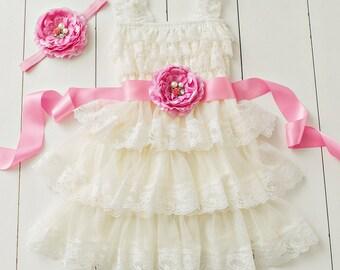 Flower girl dress, pink flower girl dress, flower girl dresses, lace flower girl dress, ivory baby dress, Rustic flower girl dress, birthday