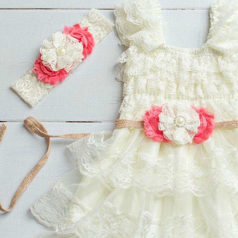 9c908af91d Lace Burlap Rustic Flower Girl Dress Country Flower Girl