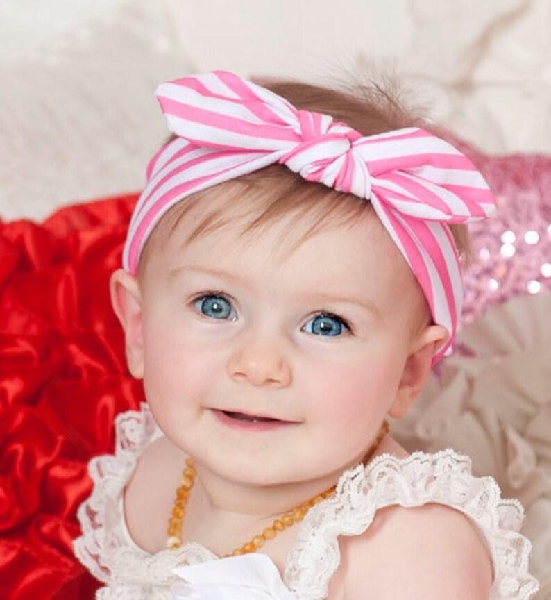 Baby Headbands Square knot & Dots Head wraps Baby Head image 0