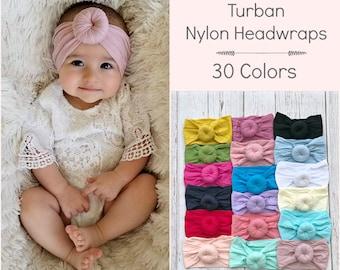 Nylon Baby headbands, nylon headband, girls headbands, baby turban, Infant toddler headband, Baby girl headband, round knot head wrap, pink