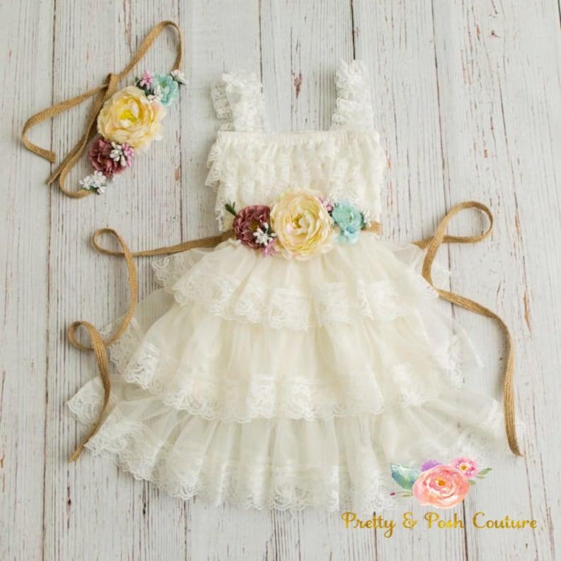 lace flower girl dress-rustic flower girl dress lace girls image 0