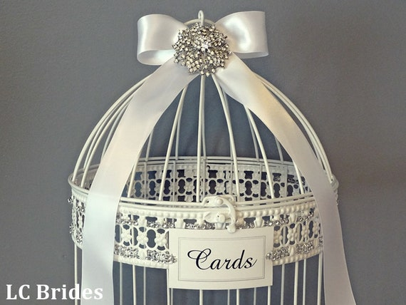 CUSTOM Colors, Bridal Shower Cards Well Wishes Wedding Cards Bird Cage Shower Cards Money Holder Wishing Well Baby Shower Cards